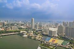 Flyg- sikt av Singapore arkivfoton