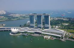 Flyg- sikt av Singapore arkivbilder