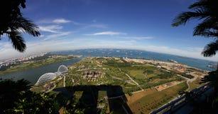 Flyg- sikt av Singapore Royaltyfri Fotografi