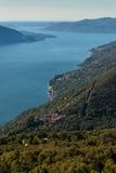 Flyg- sikt av sjön Maggiore Arkivbild