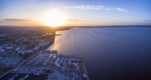 Flyg- sikt av sjön Monroe i Sanford Florida Arkivfoto