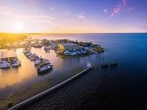 Flyg- sikt av sjön Monroe i Sanford Florida Arkivfoton