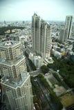 Flyg- sikt av skycraper i Tokyo, Japan Arkivbilder