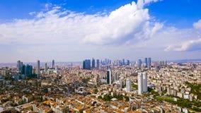 Flyg- sikt av skyskrapor i Istanbul Royaltyfri Bild