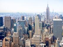 Flyg- sikt av skyskrapor i New York Royaltyfri Foto