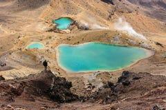 Flyg- sikt av smaragd sjöar i den Tongariro nationalparken royaltyfri foto