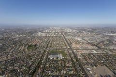 Flyg- sikt av sommarsmog ovanför Torrance och Los Angeles, Calif Arkivfoton