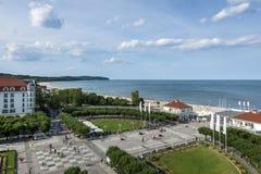 Flyg- sikt av Sopot, destination för turist- semesterort i Polen arkivfoton
