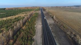Flyg- sikt av spåret längs skogen stock video