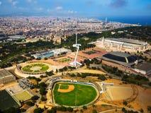 Flyg- sikt av sportar som är komplexa i Barcelona Arkivfoto