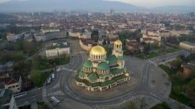 Flyg- sikt av St Alexander Nevsky Cathedral, Sofia, Bulgarien fotografering för bildbyråer