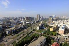 Flyg- sikt av staden Arkivfoto