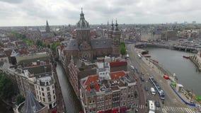 Flyg- sikt av staden av amsterdam arkivfilmer
