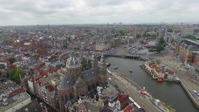 Flyg- sikt av staden av amsterdam lager videofilmer