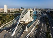 Flyg- sikt av staden av konster och vetenskaper i Valencia fotografering för bildbyråer