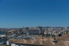 Flyg- sikt av staden Faro, Algarve, Portugal Royaltyfria Bilder