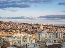 flyg- sikt av staden i Georgia och himmel royaltyfri fotografi