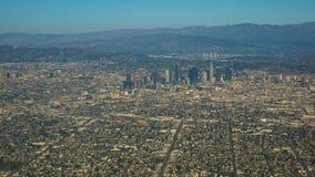 Flyg- sikt av staden av Los Angeles arkivbilder