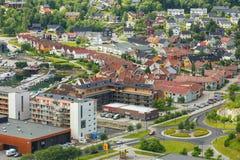 Flyg- sikt av staden Namsos, Norge Arkivbilder