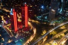 Flyg- sikt av staden och skyskraporna från Istan Royaltyfria Bilder