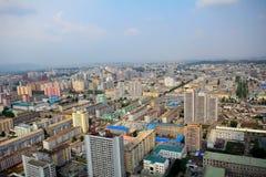 Flyg- sikt av staden, Pyongyang, Nordkorea Royaltyfria Bilder