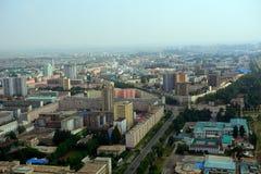 Flyg- sikt av staden, Pyongyang, Nordkorea Arkivfoton