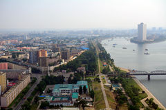 Flyg- sikt av staden, Pyongyang, Nordkorea Arkivfoto