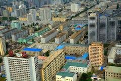 Flyg- sikt av staden, Pyongyang, Nordkorea Arkivbilder