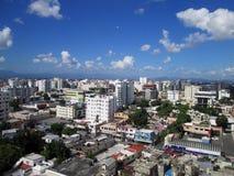 Flyg- sikt av staden av Santo Domingo, Dominikanska republiken royaltyfri bild