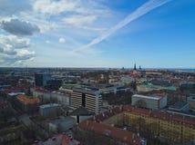 Flyg- sikt av staden Tallinn Estland Arkivfoton