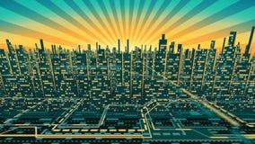 Flyg- sikt av stadsskyskrapakonturn med glödande Windows i bakgrunden av den glänsande himlen royaltyfri illustrationer