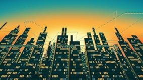 Flyg- sikt av stadsskyskrapakonturn med glödande Windows i bakgrunden av den glänsande himlen vektor illustrationer