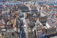 Flyg- sikt av Strasbourg den gamla staden, Alsace, Frankrike arkivfoton