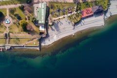 Flyg- sikt av Stresa på sjön Maggiore, Italien Royaltyfri Fotografi