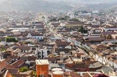 Flyg- sikt av Sucre, Bolivia Arkivfoton