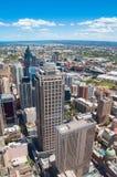 Flyg- sikt av Sydney CBD med Ultimo och Haymarket förorter Arkivbild