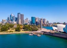 Flyg- sikt av Sydney Harbour Arkivfoto