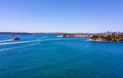 Flyg- sikt av Sydney Harbour Royaltyfri Foto