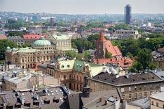 Flyg- sikt av taken av hus krakow Arkivbilder