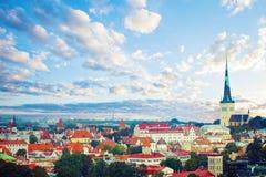 Flyg- sikt av Tallinn den gamla staden i en härlig sommardag Cityscapehorisont av den Tallinn gränsmärket, Estland fotografering för bildbyråer