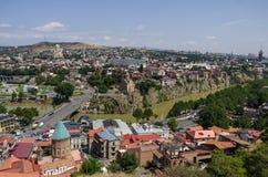 Flyg- sikt av Tbilisi, Georgia arkivbilder