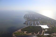 Flyg- sikt av Texas Gulf Coast, Galveston ö, Amerikas förenta stater fotografering för bildbyråer