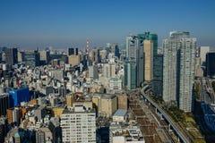 Flyg- sikt av Tokyo, Japan Royaltyfria Foton