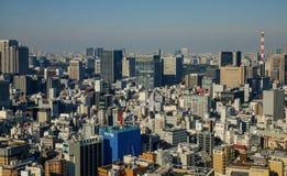 Flyg- sikt av Tokyo, Japan Arkivbild