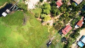 Flyg- sikt av traditionnalbyn i Siem Reap, Cambodja fotografering för bildbyråer