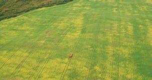Flyg- sikt av traktoren som besprutar Canolafältet arkivfilmer