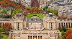 Flyg- sikt av Trocadero från Eiffeltorn Arkivfoto