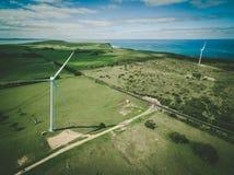 Flyg- sikt av turbiner för uddeBridgewater vind, Victoria, Australien Royaltyfria Foton