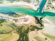 Flyg- sikt av unika Ria Formosa i Fuseta, Algarve, Portugal Arkivbilder