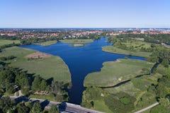 Flyg- sikt av Utterslev myrdel 3, Danmark Royaltyfria Bilder